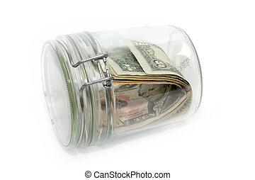 dollars in a glass container - abstract image storage...