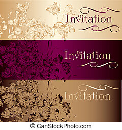 Collection of vector invitation cards in vintage style -...