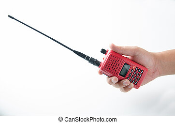 red walkie talkie in a hand