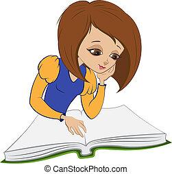 niña,  vector, lectura, libro, caricatura