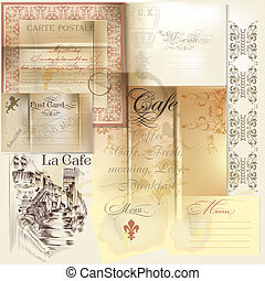 Collection of vector scrapbooking elements paper, stamps and...