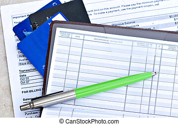 checkbook with credit cards - Open checkbook with credit...