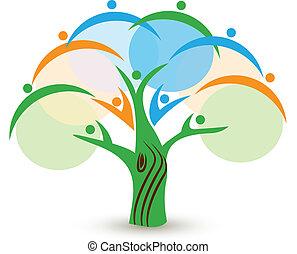 trabajo en equipo, gente, árbol, logotipo