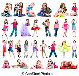 Set photos of a happy little girl. Isolated on white