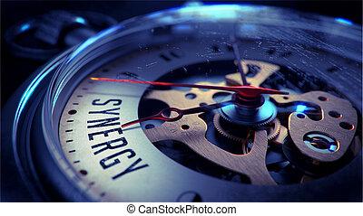 sinergia, bolsillo, reloj, cara, tiempo, concepto
