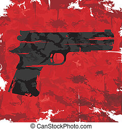 Vintage grunge gun graphic design. Vector illustration