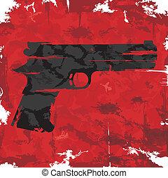 vendimia, Grunge, arma de fuego, gráfico,...