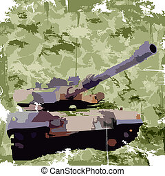 Army background with tank. Apparel print. Vector - Army...