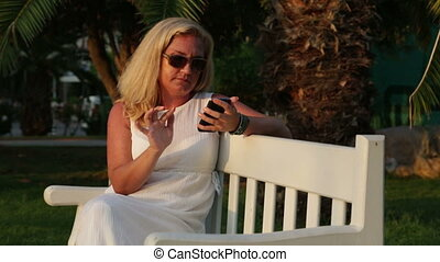 Woman sending text messages.