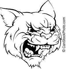 Wildcat mascot character - A black and white illustration of...