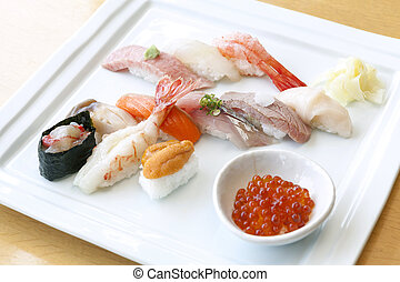 sushi set on the white plate