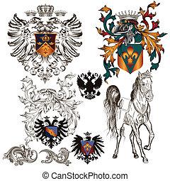 Set of vector heraldic elements - Collection of heraldic...