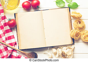blank recipe book and fresh ingredients - the blank recipe...