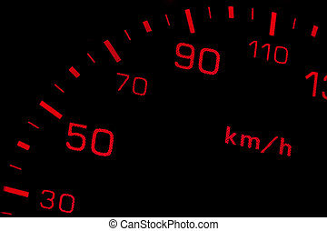 Speedometer - Orange neon speedometer over a black...