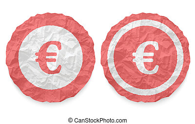 two icons with texture crumpled paper and euro symbol