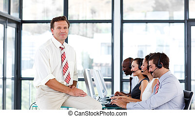 Mature manager in a call center