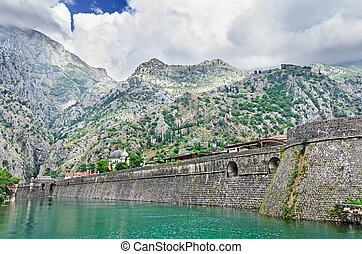 Fortification wall of town Kotor - Medieval fortification...