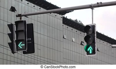 Traffic light - The traffic signal lamp flashing on the...