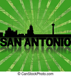 San Antonio skyline reflected with green dollars sunburst...