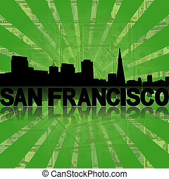 San Francisco skyline reflected with green dollars sunburst...
