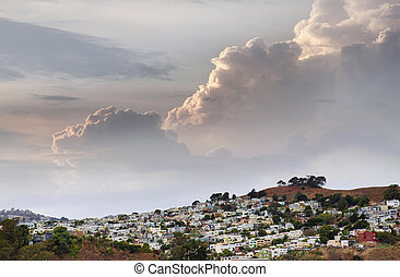 San Francisco suburb in cloudy weather