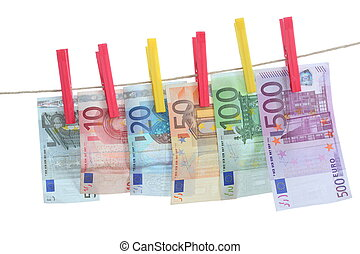 money line - banknotes in row on line with clips