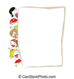 crianças, caricatura, modelo
