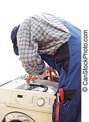 electrician - One electrician working on a open washing...
