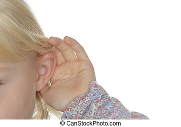 girl is hearing - a blond young girl is hearing details