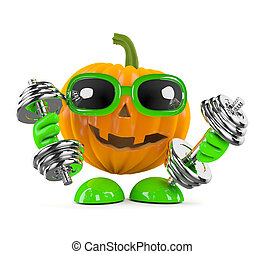 3d Pumpkin man works out with weights - 3d render of a...