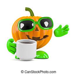3d Pumpkin man has a coffee break - 3d render of a pumpkin...