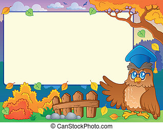 Autumn frame with owl teacher 2 - eps10 vector illustration