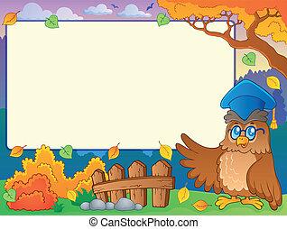 Autumn frame with owl teacher 2 - eps10 vector illustration.