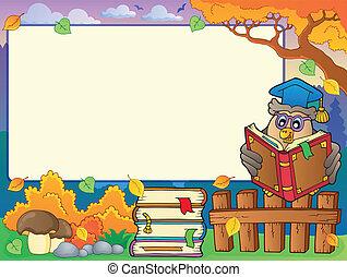 Autumn frame with owl teacher 4 - eps10 vector illustration.