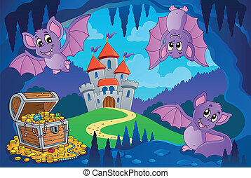 Bats in fairy tale cave