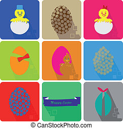 Icons Set of Easter