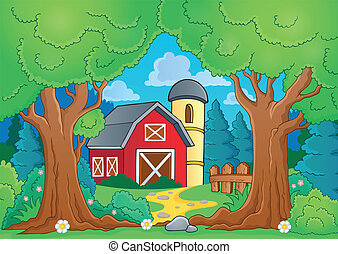 Tree theme with farm 3 - eps10 vector illustration.