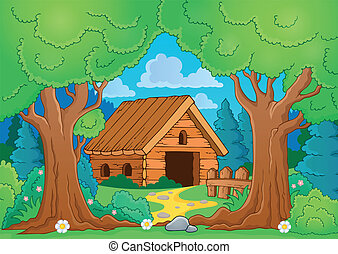 Tree theme with wooden building - eps10 vector illustration.