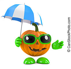 3d Pumpkin man with his umbrella - 3d render of a pumpkin...