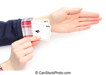 Business woman pulls an aces from his sleeve. White background