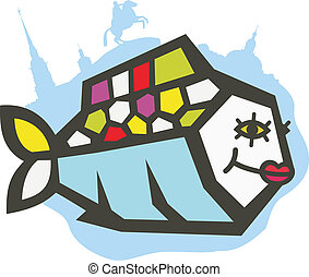 bonito, logotipo, peixe, Rio