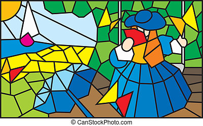 Assol scarlet sails - Stained glass window for interior...