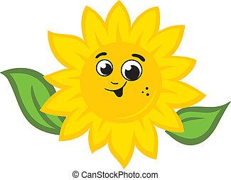 Sunflower logo - Smile Sunflower sign Isolated on white...