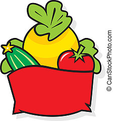 Basket with vegetables - Agriculture logo vector Isolated on...