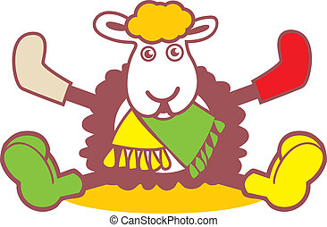 Fancy a sheep logo - warm clothing and fashion sign Isolated...