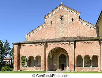 narthex and church facade, Abbadia Cerreto - view of front...