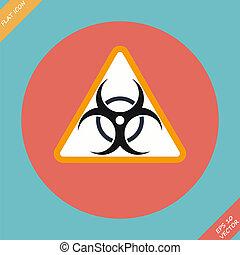 Warning symbol biohazard - vector illustration Flat design...
