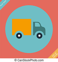 Truck Icon - vector illustration. Flat design element