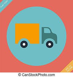 Truck Icon - vector illustration. Flat design element