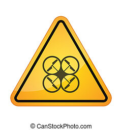 Danger sign with a drone silhouette - illustration of an...
